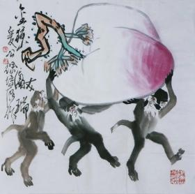 徐培晨  金猴献寿图