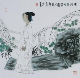 袁武  李清照吟诗图