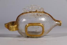 旧藏,水晶包金勾云纹觥杯