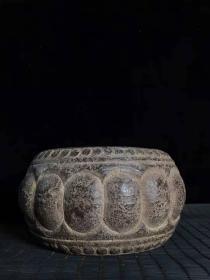 石雕石鼓茶承摆件