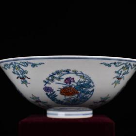 清雍正斗彩四季花卉纹碗 古玩200208花瓶古董古瓷器藏品规格;