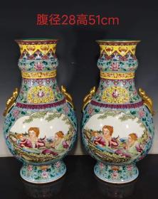 60雍正年制精工手绘粉彩描金人物纹贯耳赏瓶,器型