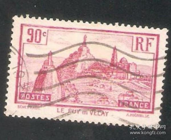 【北极光】外国早期-法国邮票-信销邮票-城堡灯塔专题收藏-实物扫描