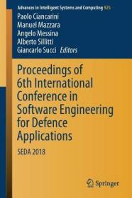 预订Proceedings of 6th International Conference in Software Engineering for Defence Applications