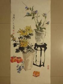 传统水墨中式手绘花鸟画客厅中堂画竖幅未装裱字画收藏捡漏软片竖幅