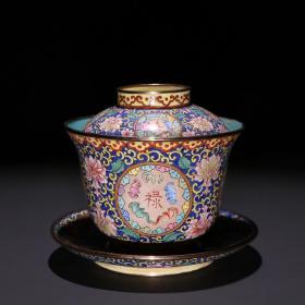 清代 铜胎蓝釉画珐琅「福禄寿喜」茶盖碗