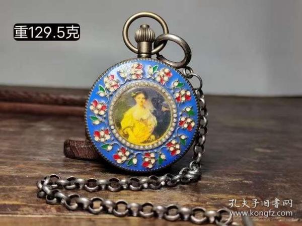 景泰蓝镶嵌西洋人物铜怀表,可以正常使用。,买家自鉴