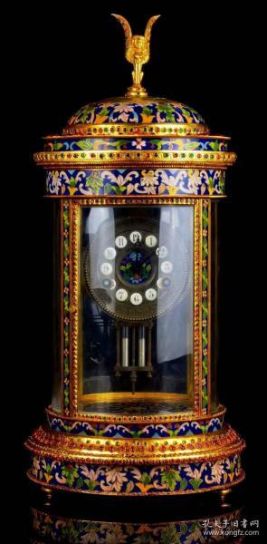 鎏纯金镶嵌宝石景泰蓝西洋钟表。鎏纯金,景泰蓝,镶嵌宝石,水晶罩,买家自鉴。