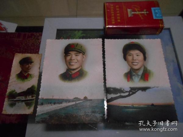 早期男女军人风景照(手工上色、这样尺寸少见,12.5*8.8CM)。旁边小张一作比较、二作赠送。