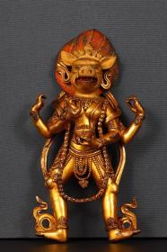 清代:铜鎏金摩利支天造像