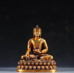 旧藏 铜鎏金持钵佛坐像