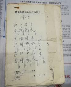 七十年代宝鸡县蟠龙公社陈仓医疗站处方笺