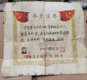 1957年山东省蛟河县第一中学校毕业证书一张,带照片,学生山东省安邱县人宋会民,校长梁玉柱,尺寸38*34CM