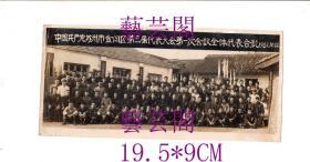 珍稀史料1961年中国共产党苏州市金阊区第三届代表大会第一次会议全体代表合影1961.10.28,尺寸19.5*9CM