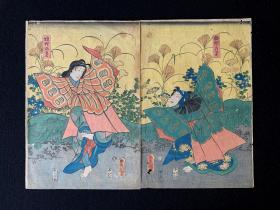 江户时期,歌川丰国,浮世绘版画,双连张,梁祝化蝶图。