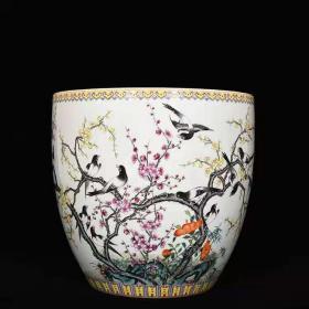 清代瓷器 精品老货收藏  清乾隆粉彩十二喜鹊梅花卷缸