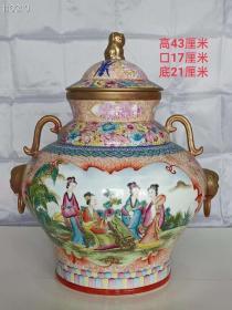 珍藏 雍正年制手绘粉彩描金罐