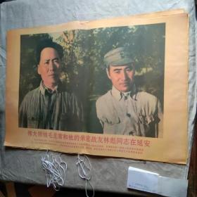 宣传画 伟大领神毛主席和他的亲密战友林彪同志在延安(印刷品)