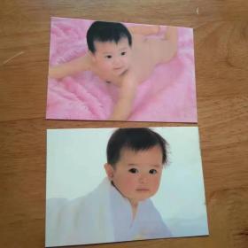 老照片 幼儿照片明信片[2张.彩色照片]