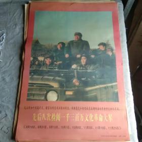 宣传画 先后八次检阅一千三百万文化革命大军(印刷品)