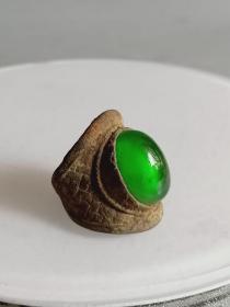 出土少见的天然冰种帝王绿老翡翠戒指