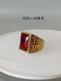 少见的天然红宝石K金戒指·