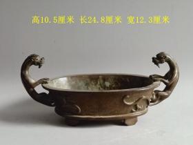 乡下收的明代传世宣德双龙瑞兽紫铜香炉