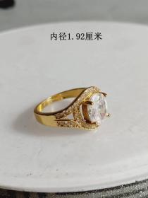 收藏少见的天然白钻K金戒指·