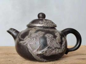 名家作,镶银鸟语花香多孔紫砂壶。