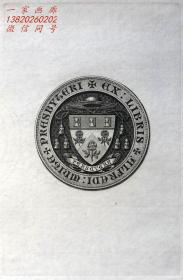 "英国艺术家""THOMAS MORING"" 铜版纹章藏书票 票主:rev.alfred canon white 1901"