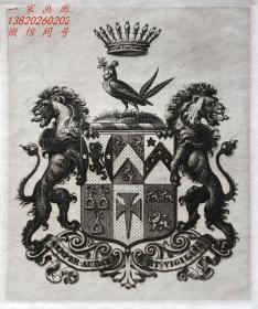 """英国艺术家""""THOMAS MORING"""" 铜版纹章藏书票 皇冠和盔甲 1901"""