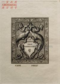 """英国艺术家""""THOMAS MORING"""" 铜版藏书票 《被藤蔓包围的苍鹭》 1901"""