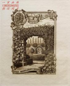 """英国艺术家""""THOMAS MORING"""" 铜版藏书票 《英国皇家植物园韦克赫斯特园》 1901"""