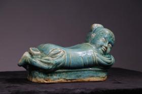 明代绿釉瓷枕