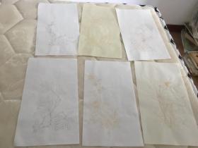 仿古手工宣纸信笺(花卉)共六张