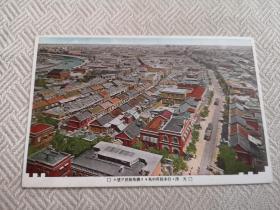 天津老明信片,俯瞰日租界,旭街、有轨电车,远望英法租界
