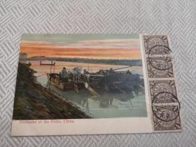 天津老明信片,清末海河,渔船,1907年蟠龙票
