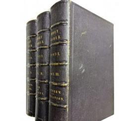新约旧约圣书(道光14年   英文版    鎏金书口    皮面    木板插图     16开    3册全套)