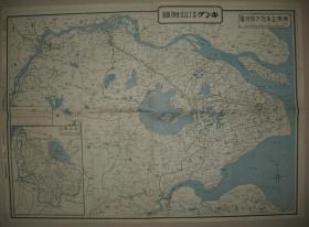 双面印侵华地图 1937年上海附近明细地图 背面南京上海详细地图