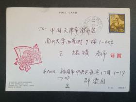 实寄封:北京外国语大学邵建国写给天津南开大学王振锁教授的明信片