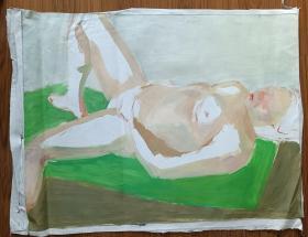手绘布面水粉画:无款202110-1522(人物80x60)