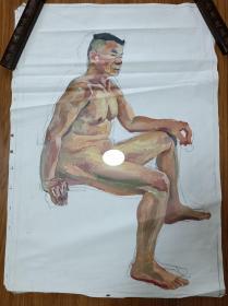 手绘布面水粉画:无款 202110-1413(人物 90x60)