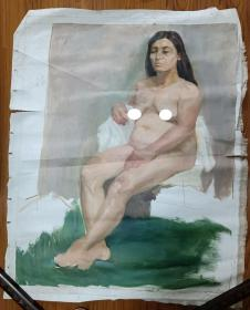 手绘布面水粉画:无款202110-1419(人物 100x80)