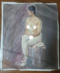 手绘布面水粉画:无款202110-1425(人物 60x50)
