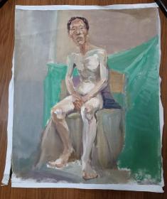 手绘布面水粉画:无款 202110-1411(人物 60x50)