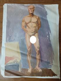 手绘布面水粉画:无款202110-1427(人物 60x50)