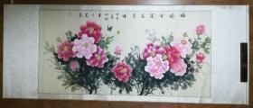 手繪真跡國畫:朱月芝牡丹 四尺橫幅