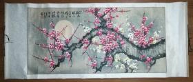 手繪陳芬清印款梅花橫幅