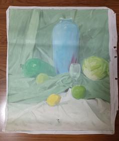 手绘布面水粉画:无款202110-1432(静物 60x50)