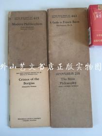 4册合售:little blue book:modern philosophers(现代哲学家)、a guide to Francis Bacon(培根入门)、the stoic philosophy(斯多葛哲学);ten cent pocket series:crimes of the borgias(波吉亚家族之罪)
